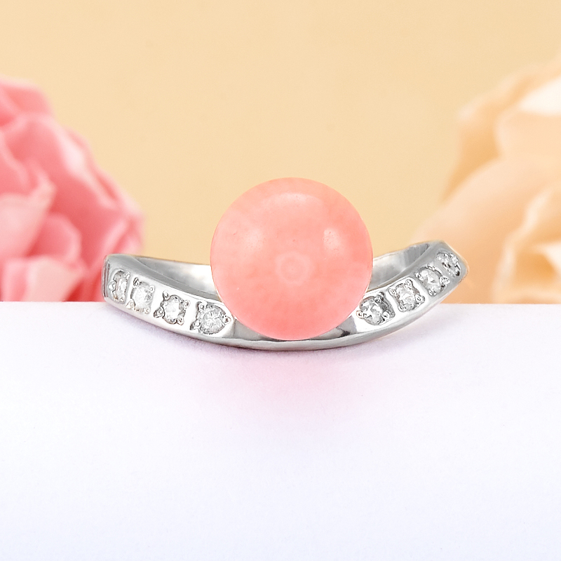 Кольцо коралл розовый  (серебро 925 пр.)  размер 16