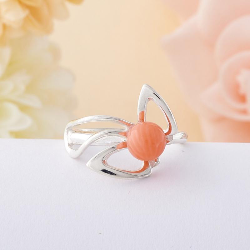 Кольцо коралл розовый  (серебро 925 пр.)  размер 16,5