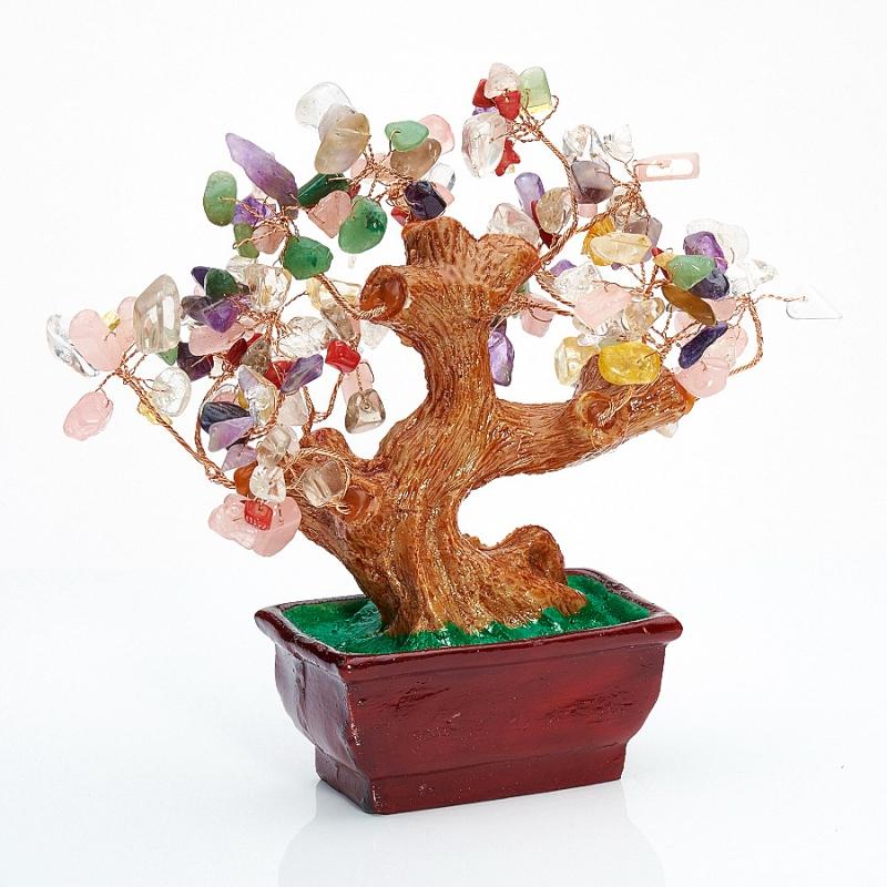 Дерево счастья из разных видов кварца 15 см