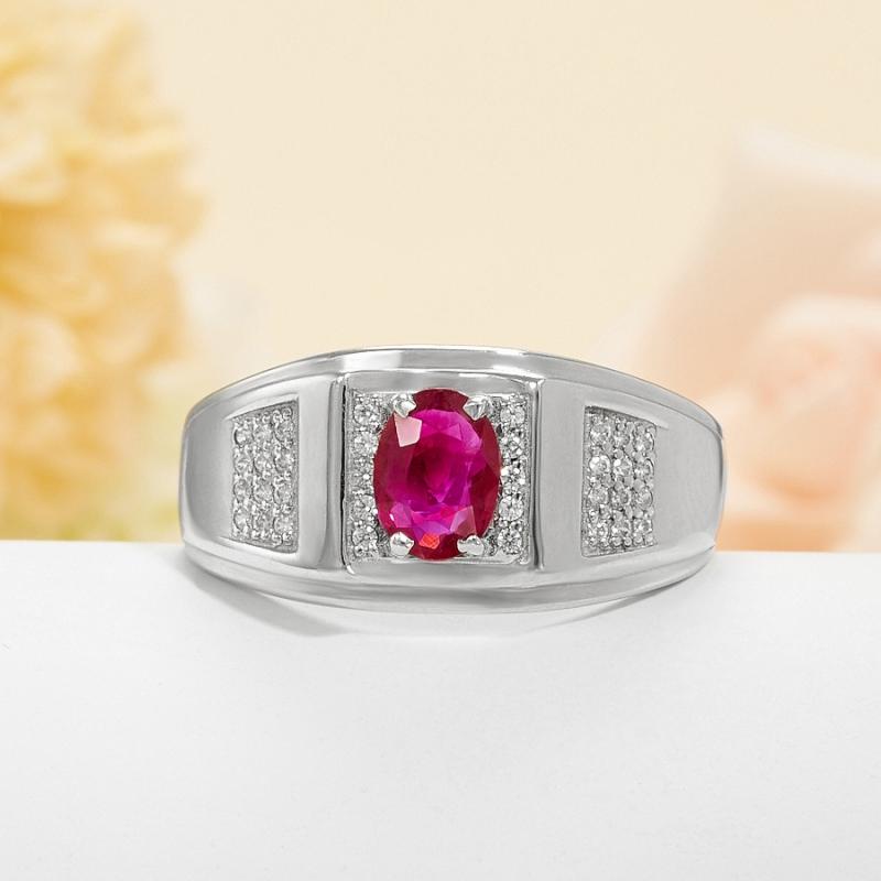 Кольцо рубин  огранка (серебро 925 пр.) размер 22