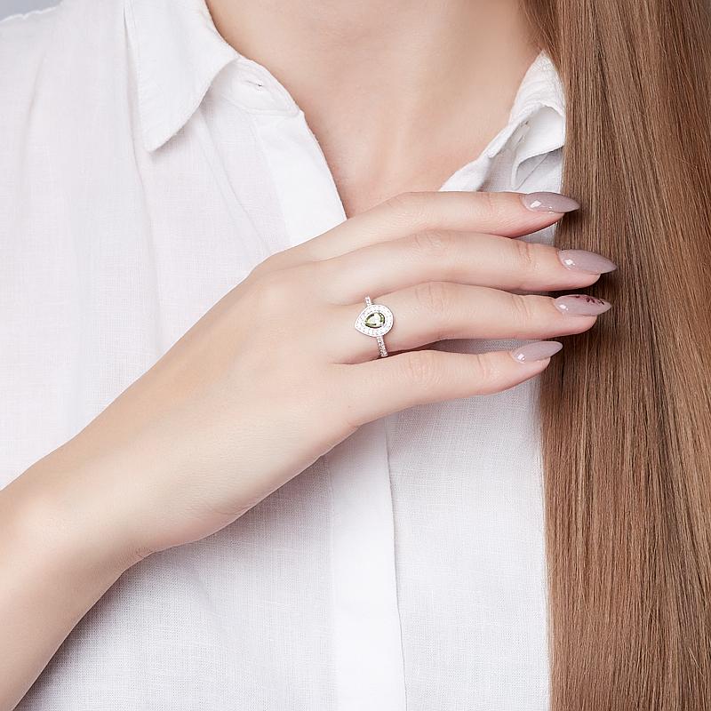 Кольцо хризолит США огранка (серебро 925 пр.) размер 17
