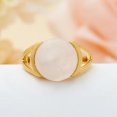 Кольцо розовый кварц Бразилия (серебро 925 пр., позолота) размер 17