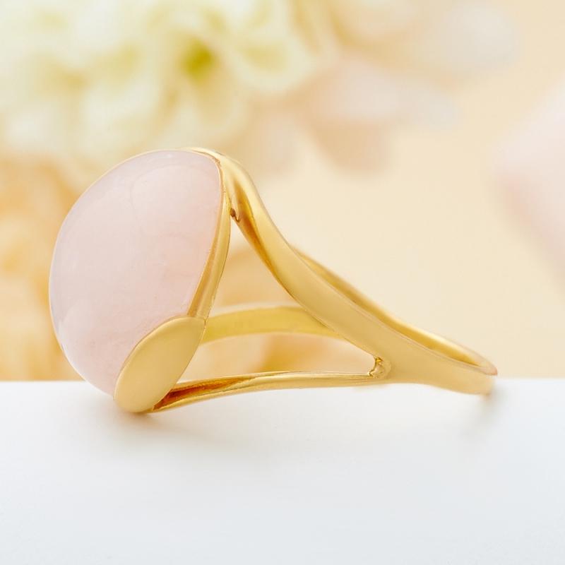 Кольцо розовый кварц  (серебро 925 пр., позолота) размер 17,5 от Mineralmarket