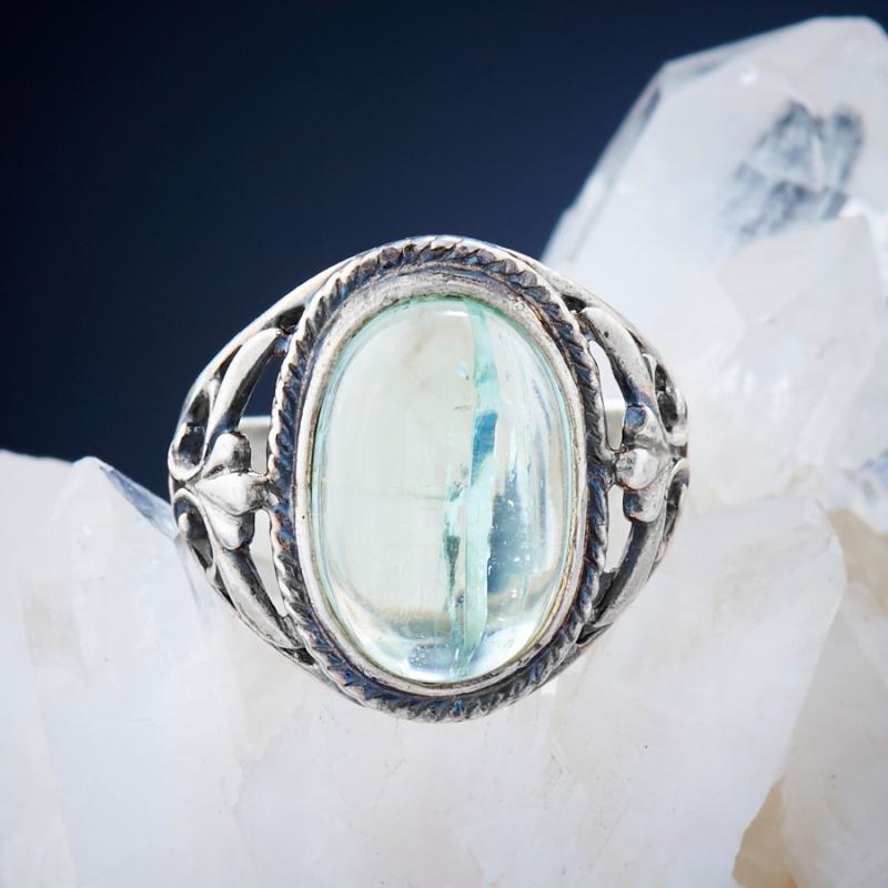 [del] Кольцо аквамарин Россия (серебро 925 пр.)  размер 21,5