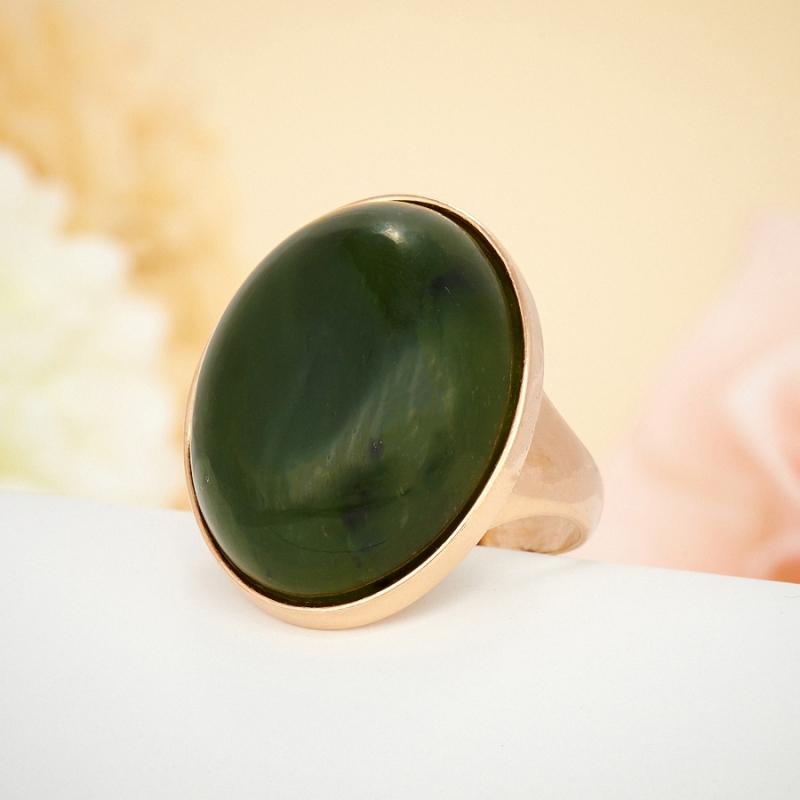 Кольцо нефрит  (серебро 925 пр., позолота) размер 17,5
