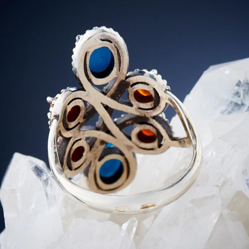 Кольцо бирюза, сердолик Тибет (серебро 925 пр.)  размер 18,5