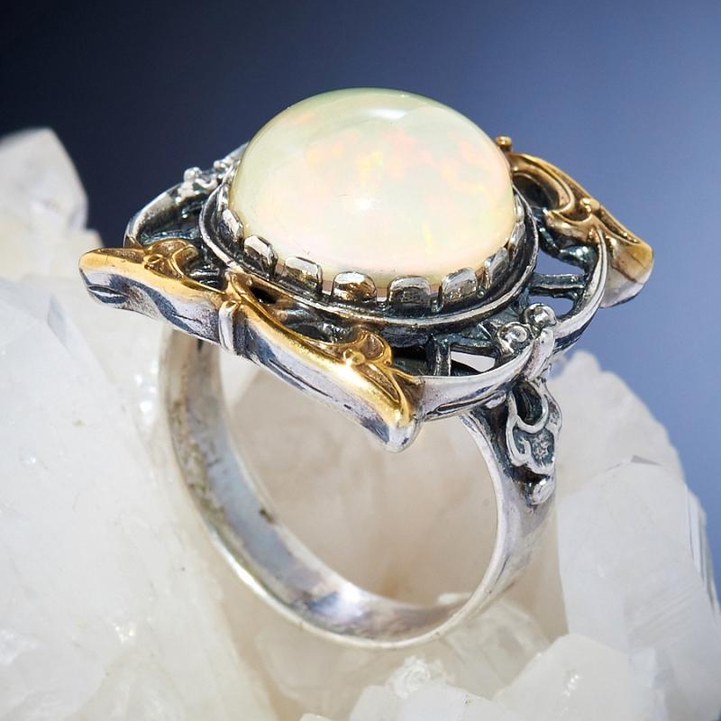 [del] Кольцо дублет опал и горный хрусталь Эфиопия (серебро 925 пр.)  размер 18