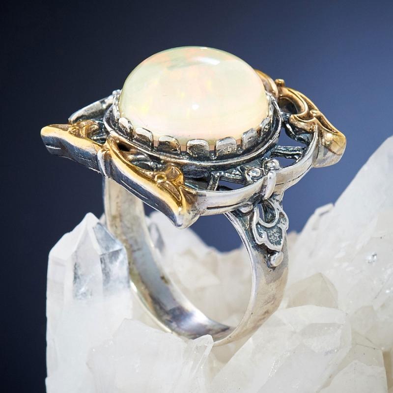 [del] Кольцо дублет опал и горный хрусталь Эфиопия (серебро 925 пр.)  размер 21