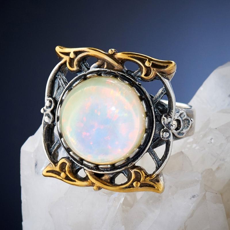 [del] Кольцо дублет опал и горный хрусталь Эфиопия (серебро 925 пр.)  размер 21,5