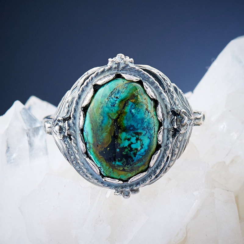 [del] Кольцо бирюза Тибет (серебро 925 пр.)  размер 19,5