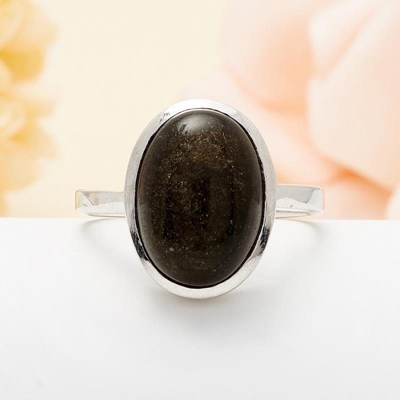 Кольцо обсидиан золотистый  (серебро 925 пр.) размер 18
