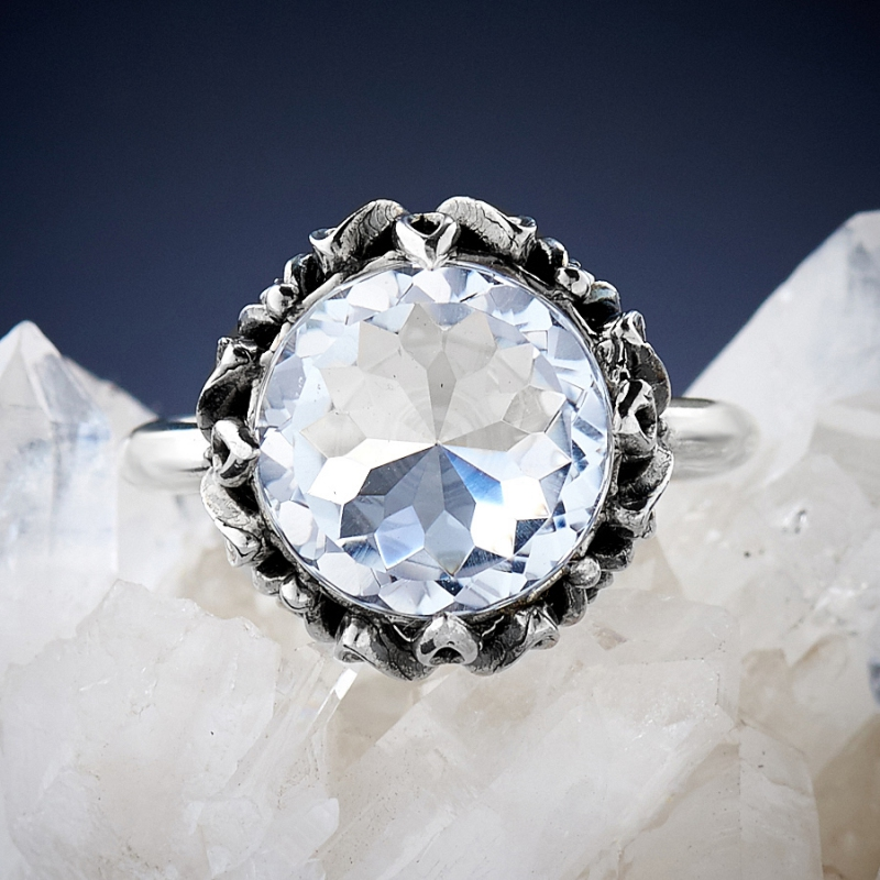 [del] Кольцо горный хрусталь Бразилия огранка (серебро 925 пр.) размер 15,5