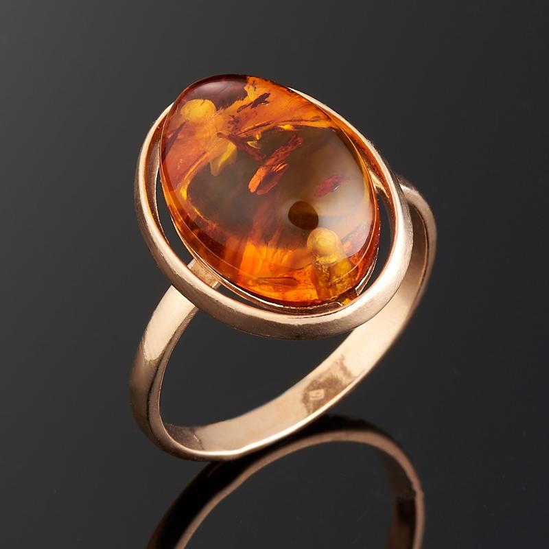 Кольцо янтарь (пресс.)  (серебро 925 пр., позолота) размер 19,5