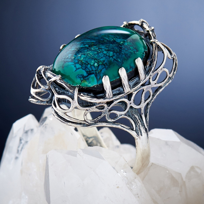 [del] Кольцо бирюза Тибет (Китай) (серебро 925 пр.)  размер 20