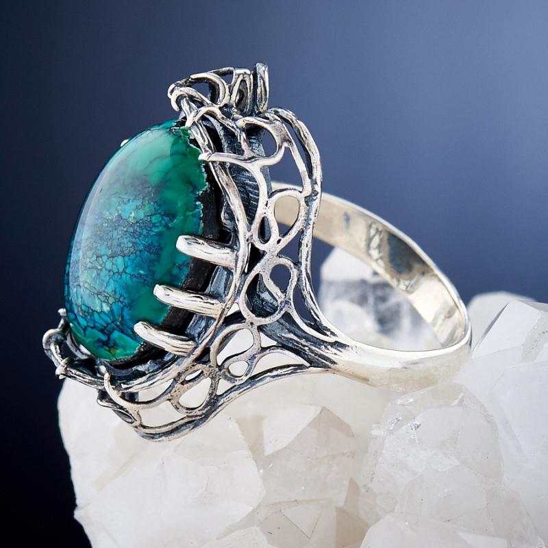 [del] Кольцо бирюза Тибет (Китай) (серебро 925 пр.)  размер 21