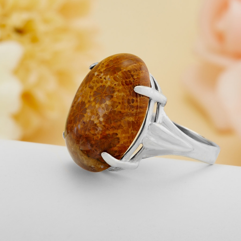 [del] Кольцо коралл Индонезия (серебро 925 пр.)  размер 17