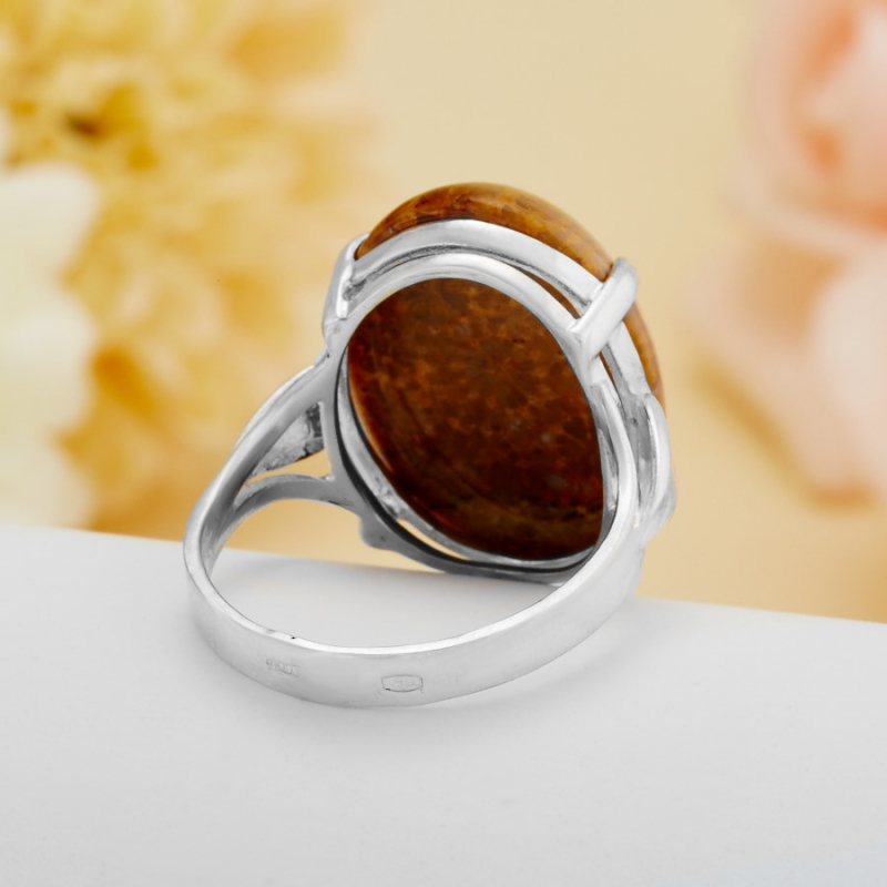 [del] Кольцо коралл Индонезия (серебро 925 пр.)  размер 17,5