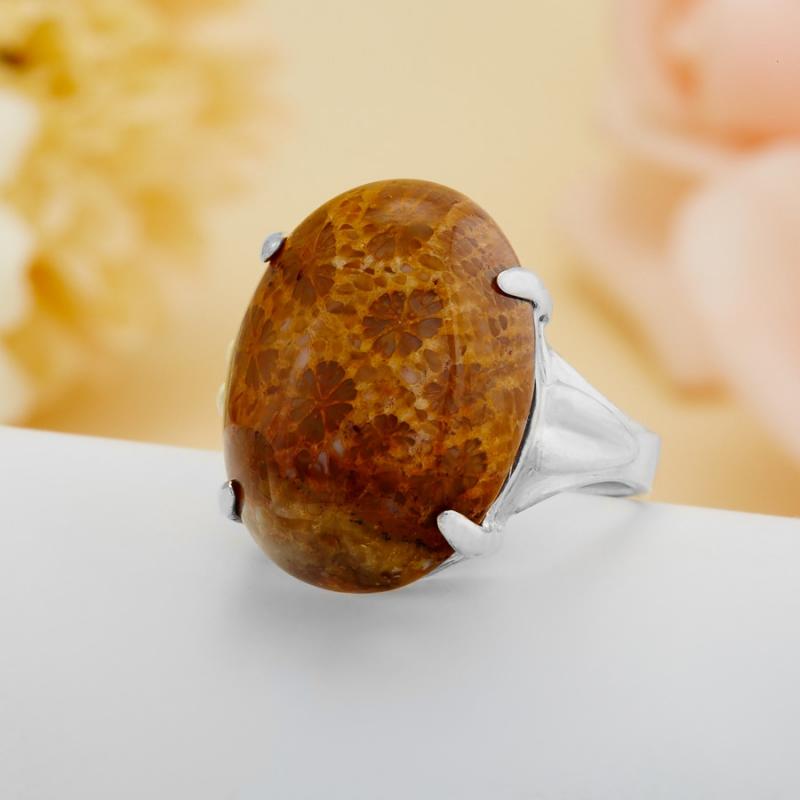 [del] Кольцо коралл Индонезия (серебро 925 пр.)  размер 20