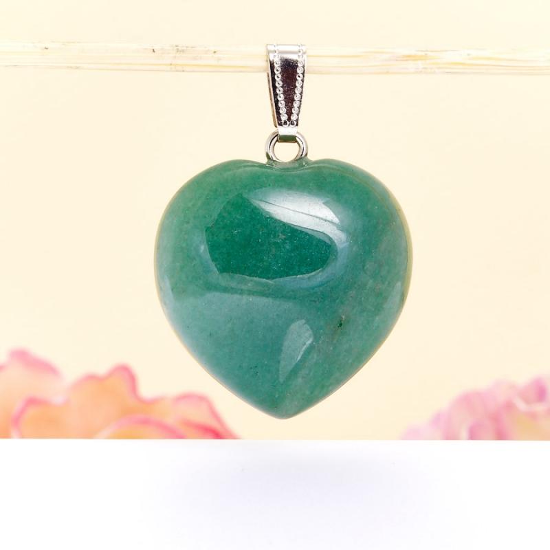 Кулон сердечко авантюрин зеленый  4 см кулон авантюрин зеленый клык 5 см