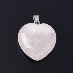 Кулон розовый кварц Намибия сердечко (биж. сплав) 4 см