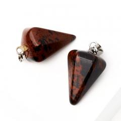 Кулон маятник обсидиан коричневый Армения 3 см