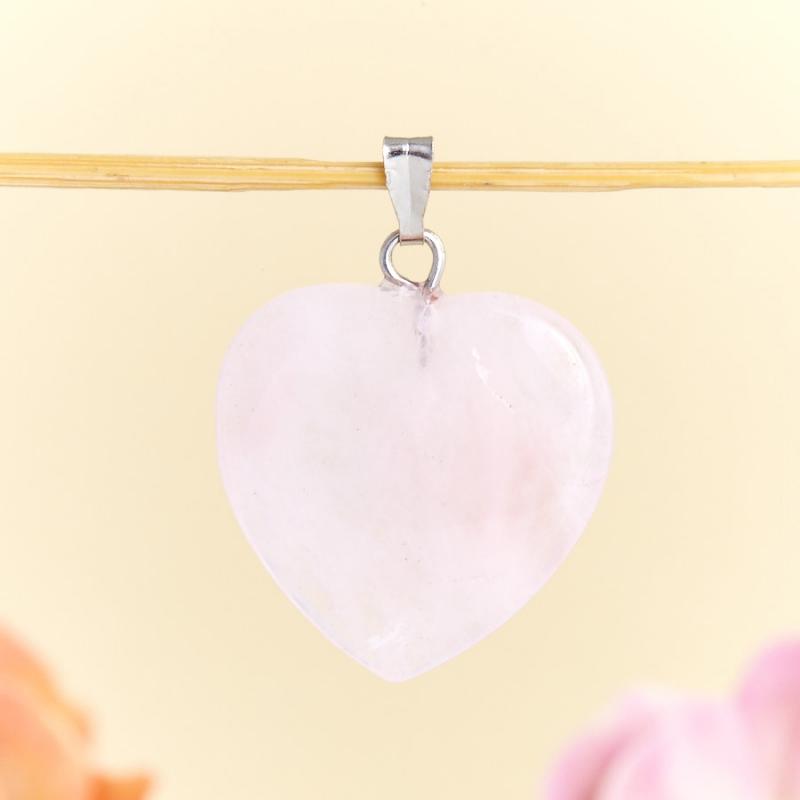 Кулон сердечко розовый кварц  2,5 см