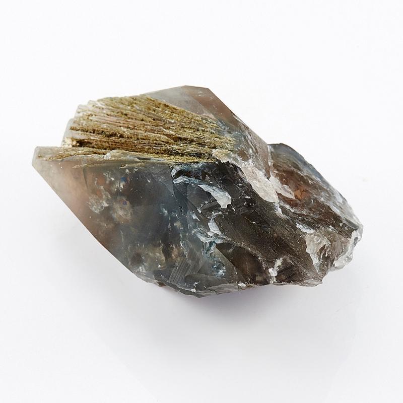 Кристалл раухтопаз с эпидотом и тремолит-асбестом  S 29х44х67 мм