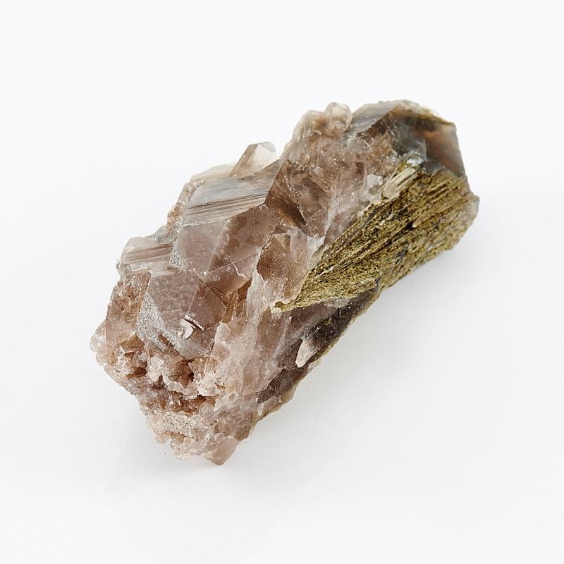 Кристалл (сросток) раухтопаз с эпидотом и тремолит-асбестом  S 30х35х74 мм