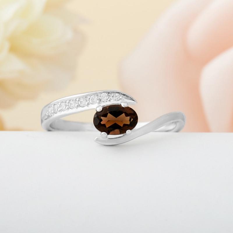 Кольцо раухтопаз  огранка (серебро 925 пр.)  размер 18