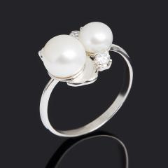 Кольцо жемчуг белый Гонконг (серебро 925 пр. родир. бел.) размер 18,5