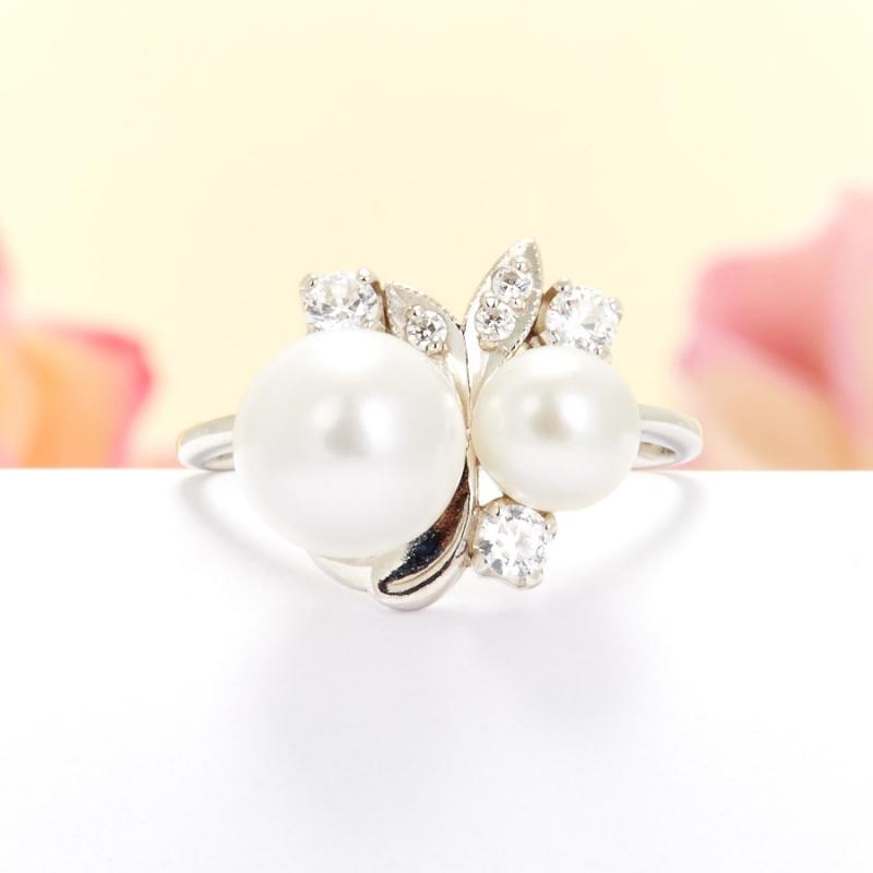 Кольцо жемчуг белый  (серебро 925 пр.) размер 20,5