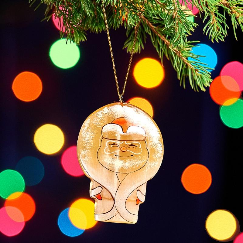 Елочная игрушка Дед Мороз селенит  75х53х16 мм