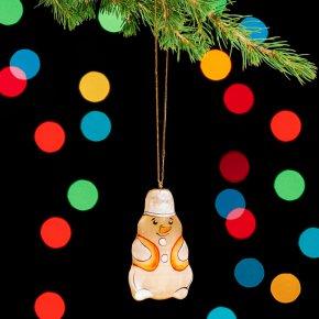 Елочная игрушка Снеговик селенит Россия 70х37х14 мм