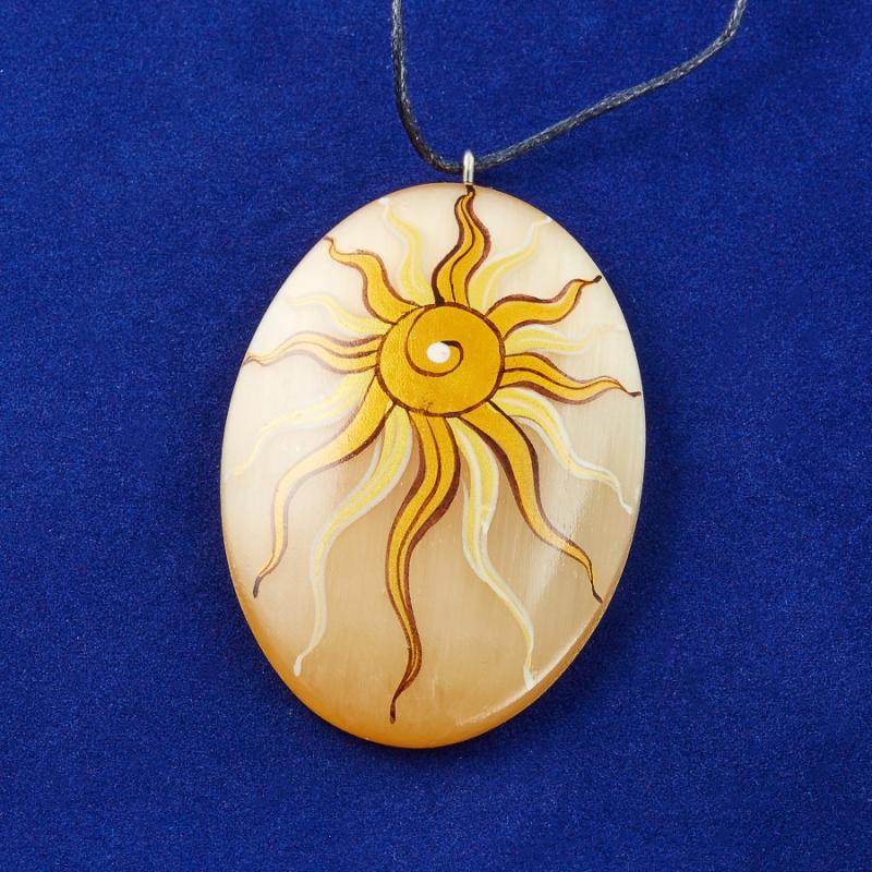 Кулон Солнце малое вертикальное селенит  6 см