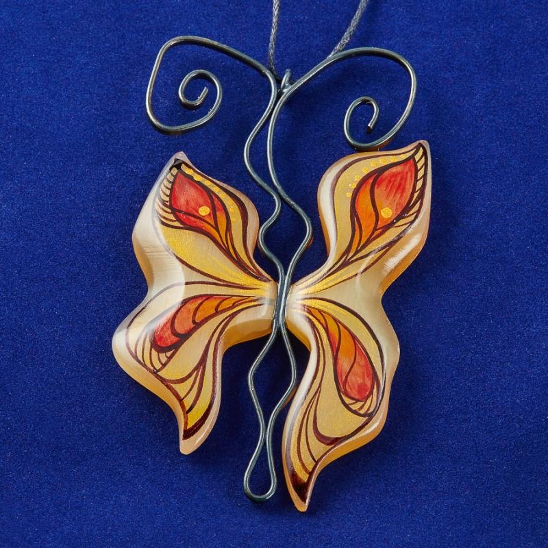 Кулон Бабочка Пламя селенит  7,5 см