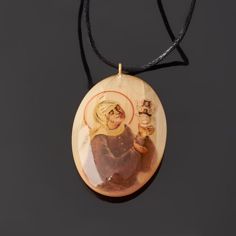 Кулон Образ святой блаженной Матроны Московской селенит Россия 3,5 см