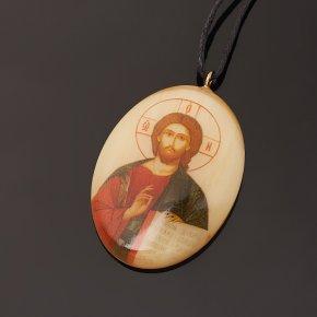 Кулон селенит Россия овал Иисус Христос 3,5см