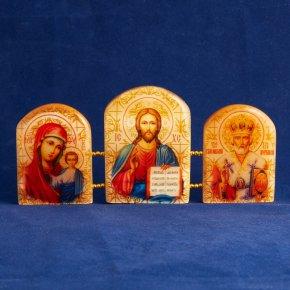 Икона Триптих Господь Вседержитель селенит Россия 155х70 мм