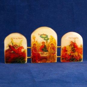 Икона Триптих Святая Троица селенит Россия 155х70 мм