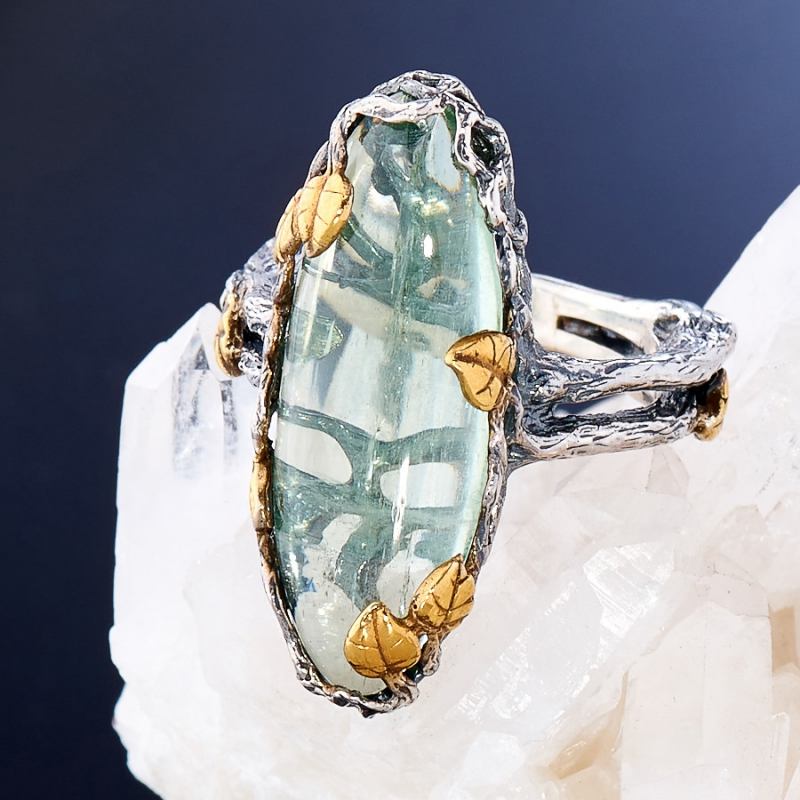 [del] Кольцо аквамарин Россия (серебро 925 пр., позолота, чернение) размер 18,5