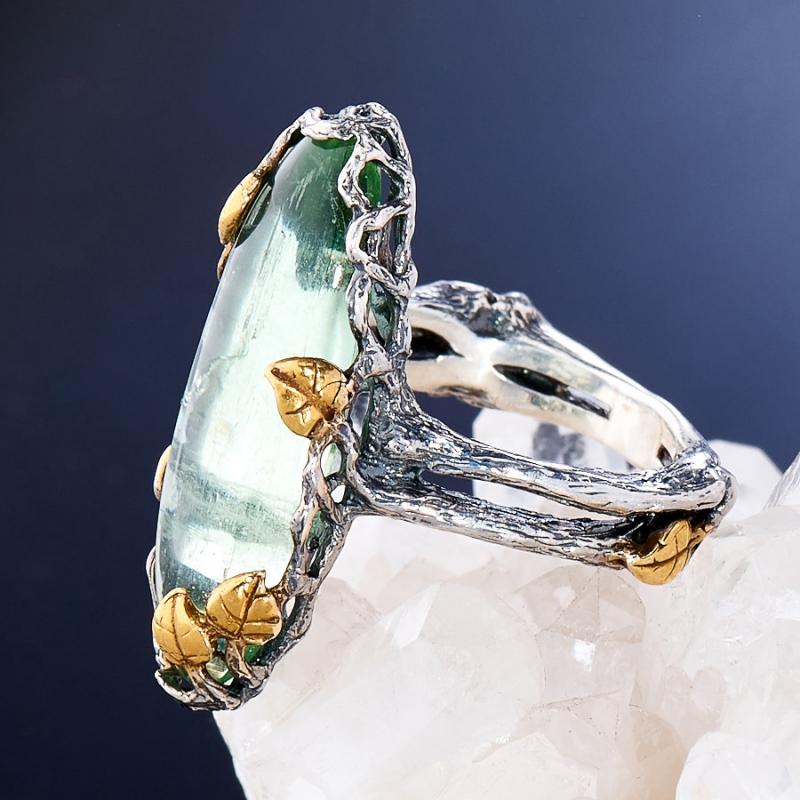 [del] Кольцо аквамарин Россия (серебро 925 пр., позолота, чернение) размер 19,5