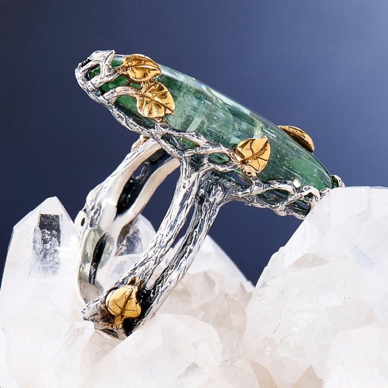 [del] Кольцо аквамарин Россия (серебро 925 пр., позолота, чернение) размер 15,5