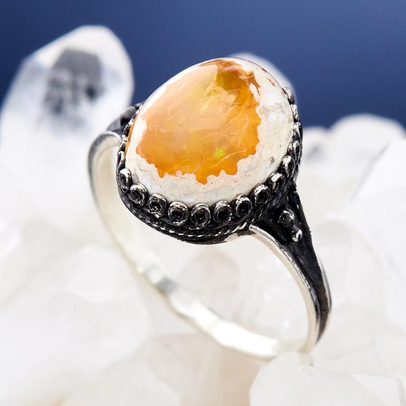 Кольцо опал огненный  (серебро 925 пр.)  размер 18