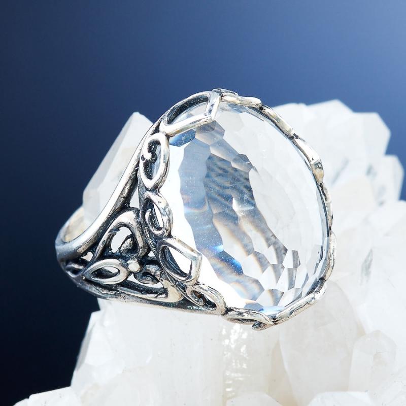 [del] Кольцо горный хрусталь Бразилия огранка (серебро 925 пр.) размер 20,5