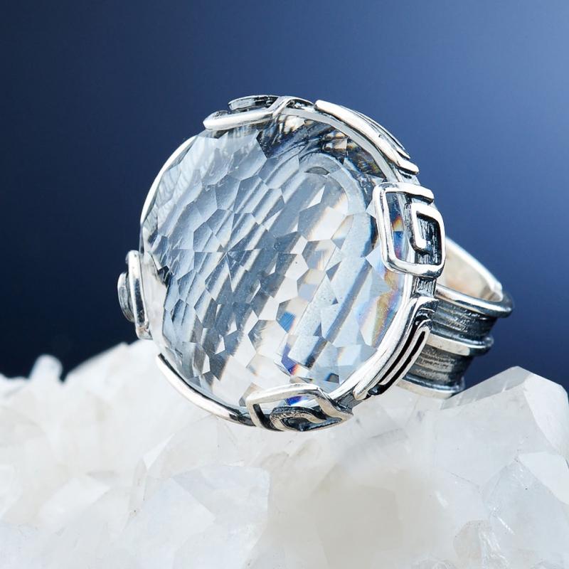 [del] Кольцо горный хрусталь Бразилия огранка (серебро 925 пр.) размер 21