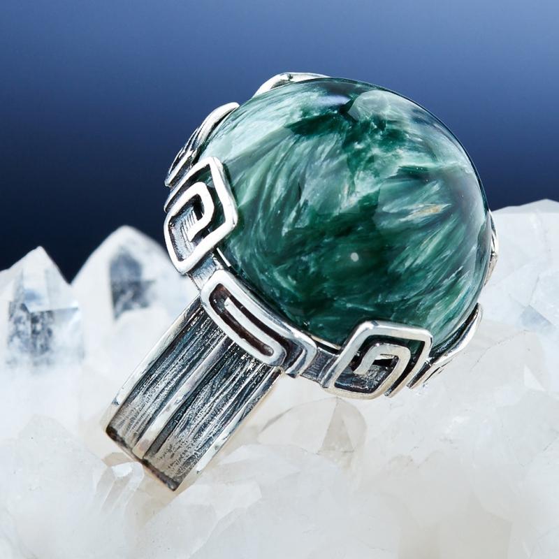 [del] Кольцо клинохлор (серафинит) Россия (серебро 925 пр.)  размер 18,5
