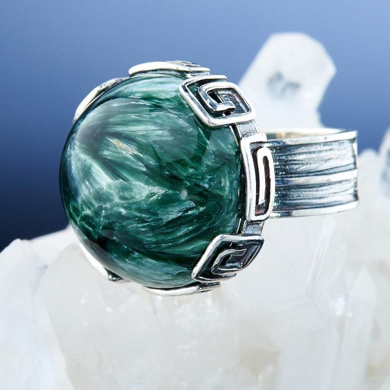 [del] Кольцо клинохлор (серафинит) Россия (серебро 925 пр.)  размер 19,5