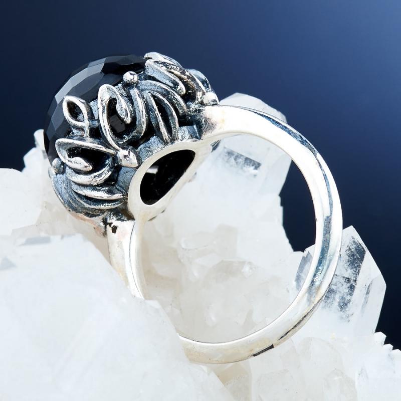 [del] Кольцо агат черный Бразилия огранка (серебро 925 пр.) размер 18