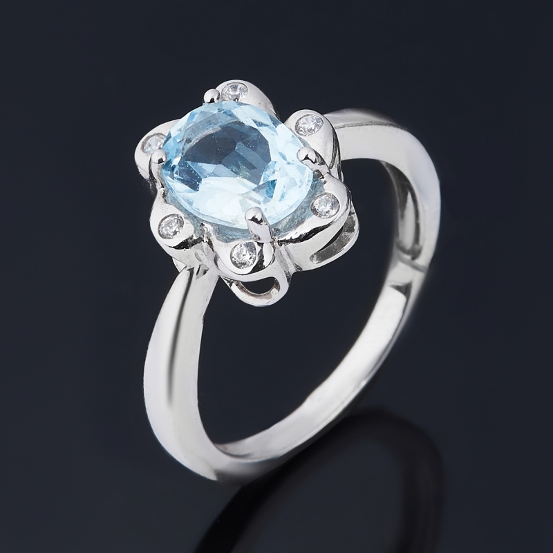Кольцо топаз голубой огранка (серебро 925 пр.) размер 16 цена 2017