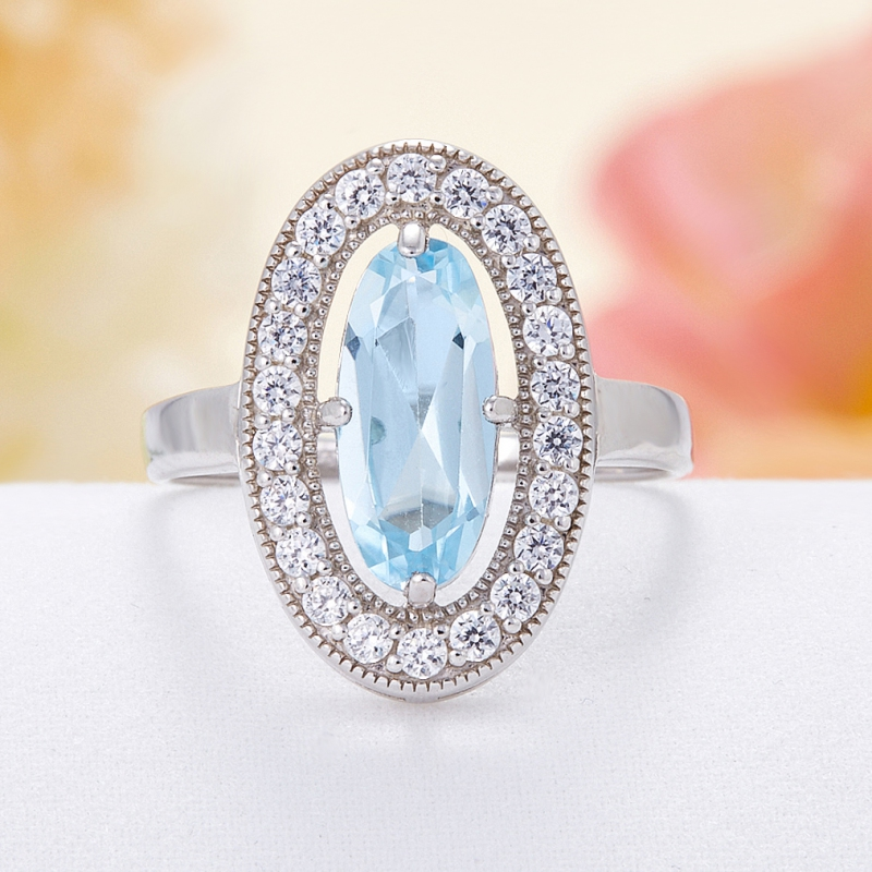 Кольцо топаз голубой огранка (серебро 925 пр.) размер 17,5 кольцо микс топаз хризолит огранка серебро 925 пр размер 19